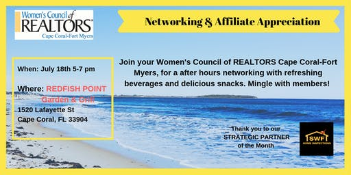 Networking & Affiliate Appreciation with Womens' Council of REALTORS Cape Coral-Fort Myers - July 2019