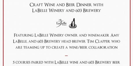Craft Wine & Beer Dinner with 603 Brewery tickets