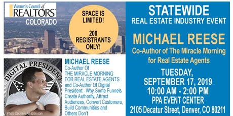 STATEWIDE Real Estate Industry Event - Michael Reese (The Miracle Morning) billets