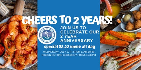Cheers to 2 Years at Out of the Blue! Special $2.22 Menu ALL DAY! tickets