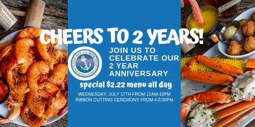 Cheers to 2 Years at Out of the Blue! Special $2.22 Menu ALL DAY!