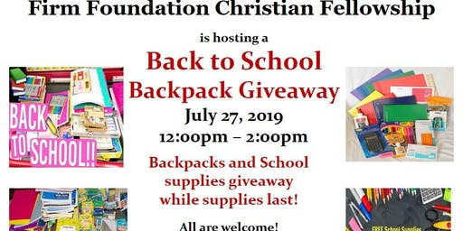 Back to School Community Backpack Giveaway