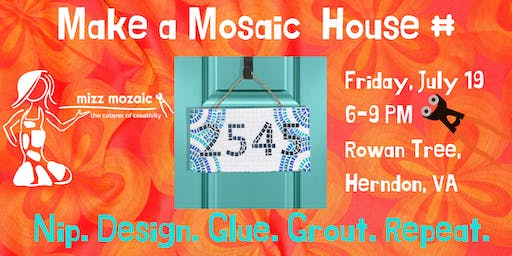 Mosaic House Number Night