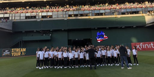 2019 A's vs Giants- Piedmont East Bay Camp Choir Performs National Anthem