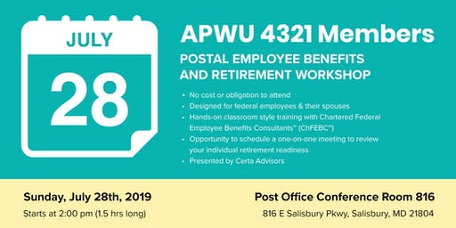 APWU Local 4321 Retirement Workshop in Salisbury, MD
