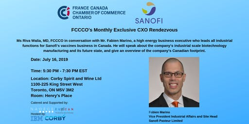 CXO Rendezvous with Mr. Fabien Marino, Vice President Industrial Affairs & Site Head, Sanofi Pasteur Limited