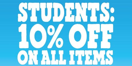 10% OFF ON ALL ITEMS tickets