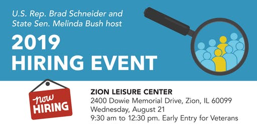 Zion Job Fair hosted by Sen. Melinda Bush & Rep. Brad Schneider