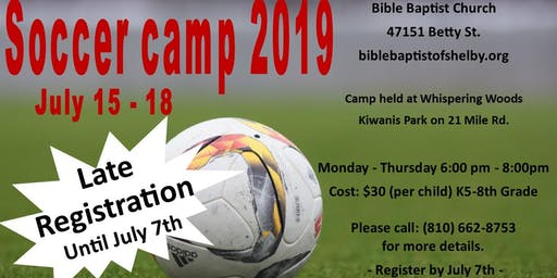 Bible Baptist 2019 Soccer Camp