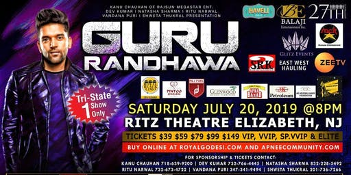Official Live Guru Randhawa concert on 20th july in Ritz Theatre NJ-Buy now