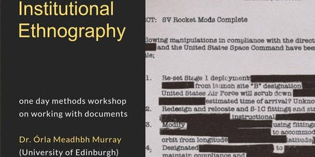 Institutional Ethnography: One day methods workshop on working with documents.  tickets