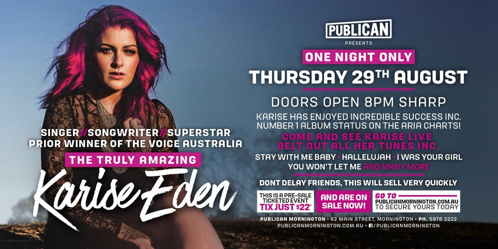 Karise Eden LIVE at Publican, Mornington!