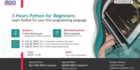 [PAID WORKSHOP] Hands-on: 3 Hours Python for Beginners  tickets