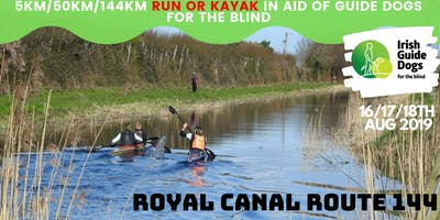 Royal Canal Route 144 - Run/Kayak 5/50/144km For Guide Dogs for the Blind