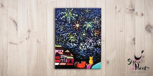 Sip & Paint @ EGG Sunway: Van Gogh's Fireworks