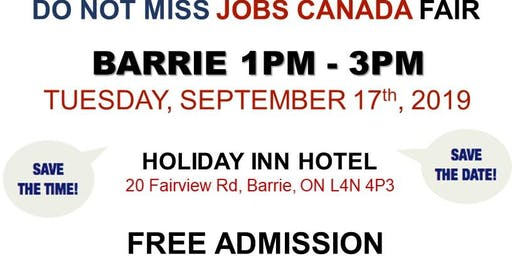 FREE: Barrie Job Fair – September 17th, 2019