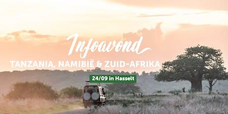 Infoavond Tanzania, Zuid-Afrika en Namibië met je eigen gezelschap in Hasselt billets