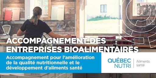 Accompagnement pour l'amélioration de la qualité nutritionnelle et le développement d'aliments santé