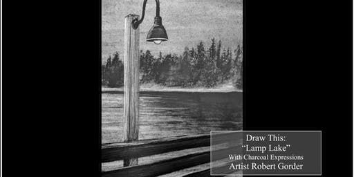 """Charcoal Drawing Event """"Lamp Lake"""" in Rosholt"""
