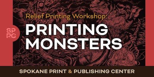 Relief Printing Workshop: Printing Monsters