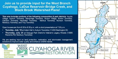 West Branch Cuyahoga, LaDue Reservoir-Bridge Creek, and Black Brook Watershed Plans Open House 1