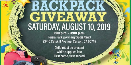 2019 Community Backpack Giveaway tickets