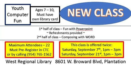 Introduce kids to Powerpoint & WORD tickets