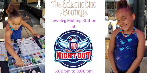 Jewelry Making Station at National Night Out
