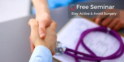 Free Seminar: Stay Active & Avoid Surgery July 27 Toronto