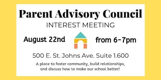 Petra Preschool's Parent Advisory Council Interest Meeting
