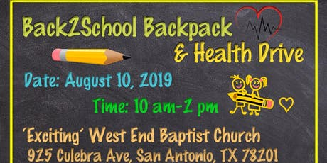Back 2 School Backpack Drive & Health Fair tickets