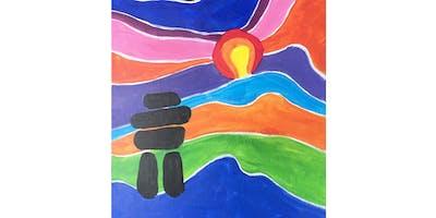 Inukshuk by Ted Harrison Paint & Sip Night - Art Painting, Drink & Food