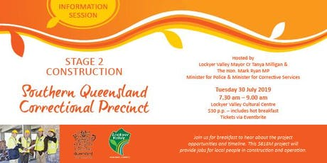 Lockyer Valley info session - Sth Qld Correctional Precinct, stage 2 construction tickets