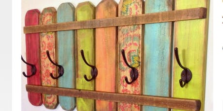 Decoupaged Wooden Coat Rack tickets