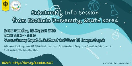 Scholarship Info Session  from Kookmin University, South Korea tickets