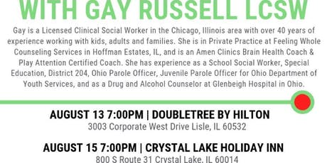 Copy of Combating the A's with Nutrition - Gay Russell, LCSW ~ 8/15/2019 (Crystal Lake) tickets