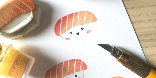 Sushi Theme Rubber Stamp Carving Workshop