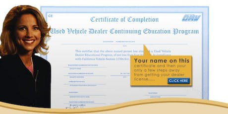 DMV Online Renewal Class - Home Study - Licensed California Dealers tickets