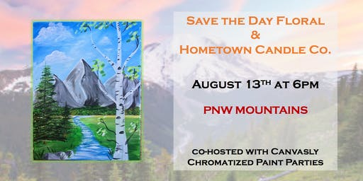 """Paint & Sip """"PNW Mountains"""" in downtown Arlington"""