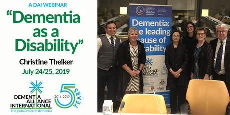 """DAI """"A Meeting Of The Minds"""" July Webinar: Dementia as a Disability, July 24/25, 2019 tickets"""
