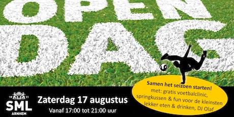 Voetbalclinic voor kids 5 - 13 jaar tijdens open dag bij Voetbalvereniging SML tickets