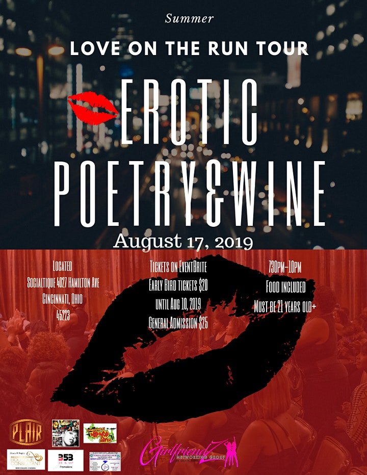 "Erotic Poetry & Wine ""Love on the Run Tour"" image"