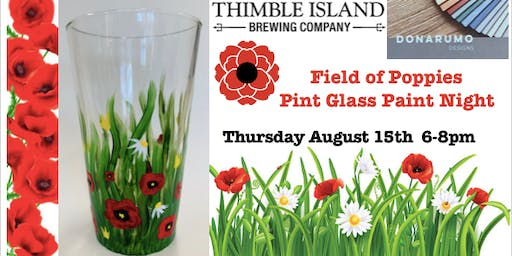 Field of Poppies Pint Glass Paint Night