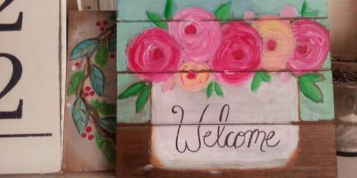 Welcome Flower Box Pallet Painting