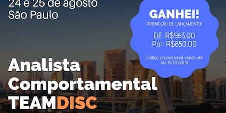 Formação Analista Comportamental TEAMDISC Profiler - São Paulo/SP bilhetes