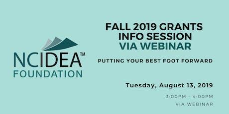 NC IDEA Fall 2019 Grants Information Session via WEBINAR tickets