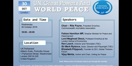 UN, Great Powers and World Peace tickets