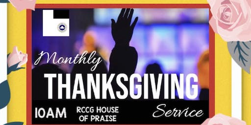 R.C.C.G MONTHLY THANKSGIVING