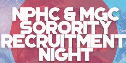 NPHC & MGC Recruitment Night for Fraternities and Sororities Fall 2019