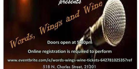 Words, Wings & Wine tickets